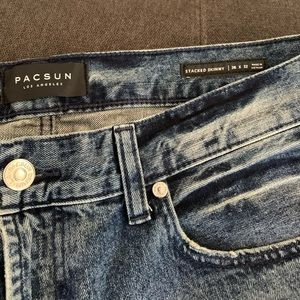 PacSun stacked skinny distressed w/ zipper legs